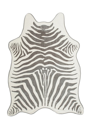 Maslin Zebra Hide Beach Towel with Crossbody Strap in Black & Grey