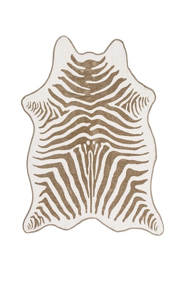 Maslin Zebra Hide Beach Towel with Crossbody Strap in Natural & Natural