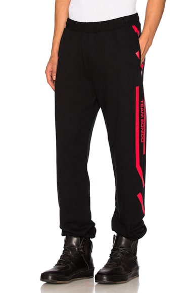Marcelo Burlon Platon Pant in Black & Red