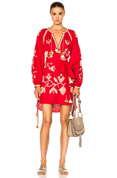 March 11 Flora Embroidered Mini Dress in Red
