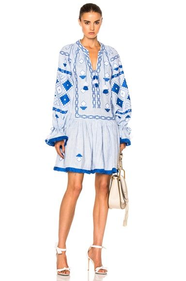 March 11 Sasha Embroidered Mini Dress in Sky Blue