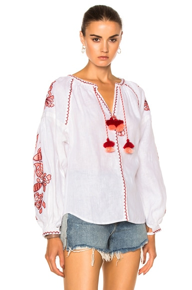 March 11 Poppy Flower Embroidered Top in White