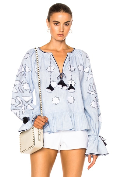 March 11 Star Embroidered Top in Sky Blue