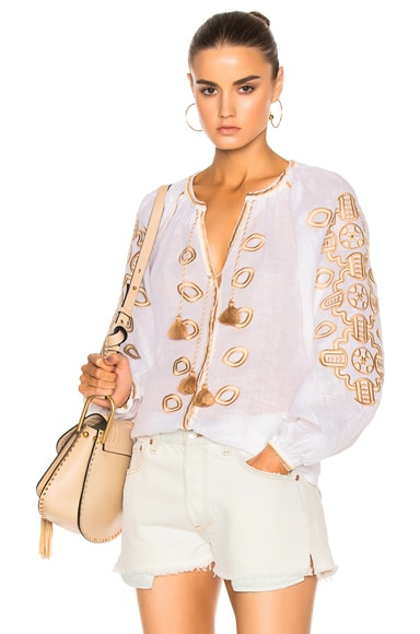 March 11 African Embroidered Top in Tan & White