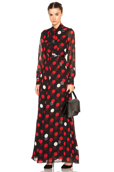 McQ Alexander McQueen Pussy Bow Maxi Dress in Red & White