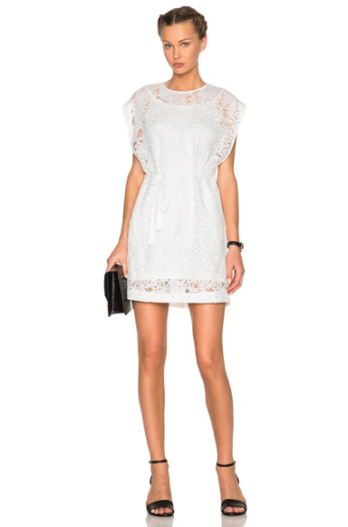 McQ Alexander McQueen Lace Cape Dress in Ivory