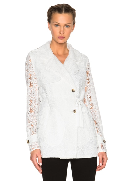 McQ Alexander McQueen Drawstring Trench Coat in Ivory