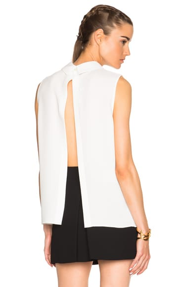 McQ Alexander McQueen Open Back Pleated Top in Ivory