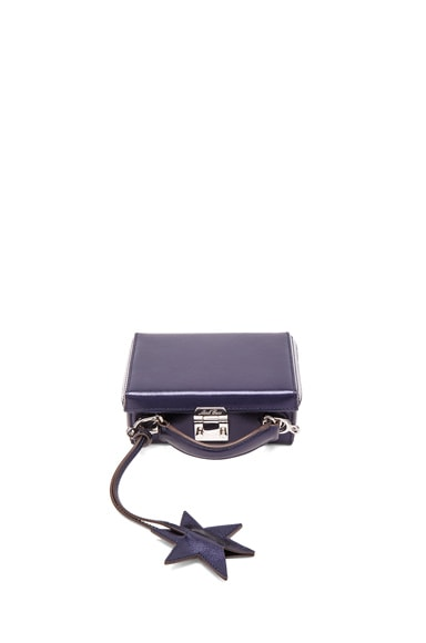 Mark Cross Saffiano Grace Mini Box in Metallic Midnight Blue