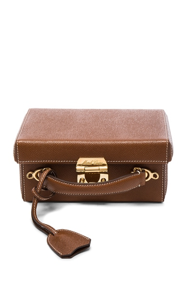 Mark Cross Grace Small Box Bag in Acorn Saffiano