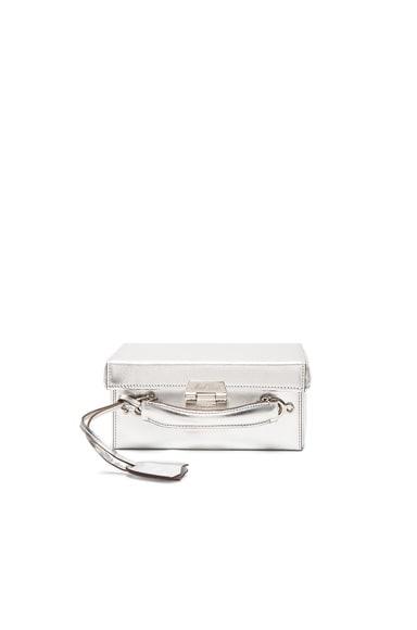 Mark Cross Grace Small Box Bag in Silver Saffiano