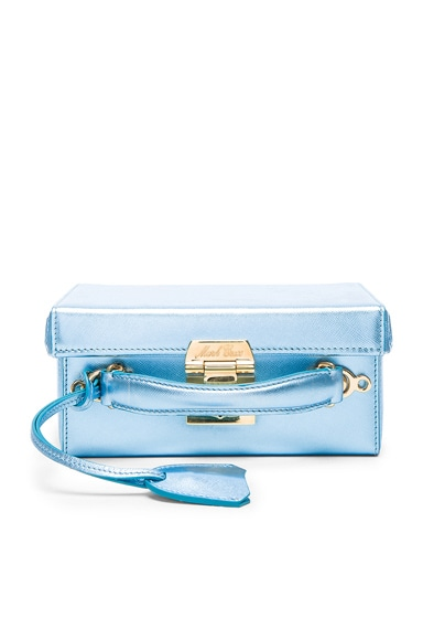 Mark Cross Grace Small Box Bag in Ice Blue Saffiano
