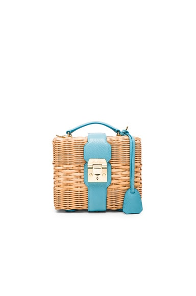 Mark Cross Harley Rattan Bag in Robin Egg Blue Pebble