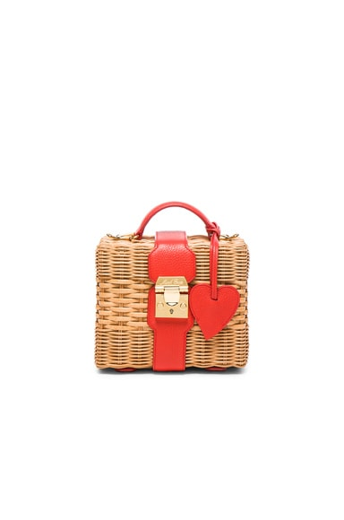 Mark Cross Harley Rattan Bag with Heart Charm in Bright Red Pebble