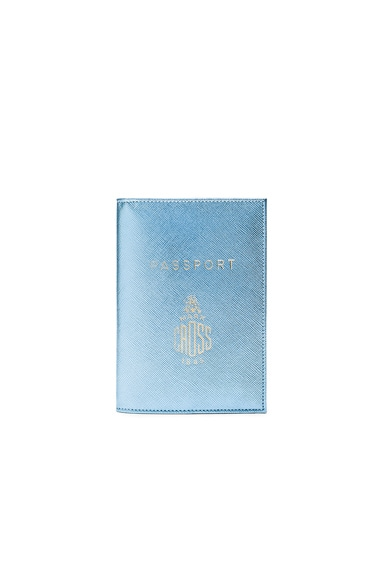 Mark Cross Passport Cover in Ice Blue Saffiano