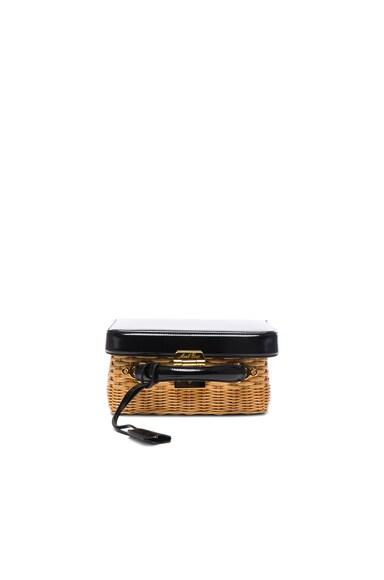 Mark Cross Grace Box Rattan Bag in Brush Off Black