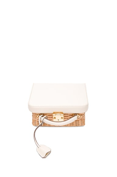 Mark Cross Grace Box Rattan Bag in Ivory