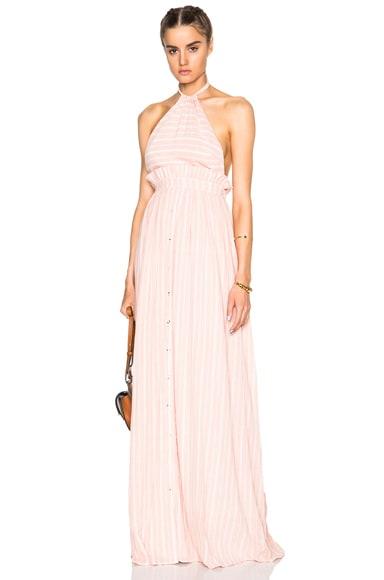 Mara Hoffman Halter Dress in Pink & White Stripe