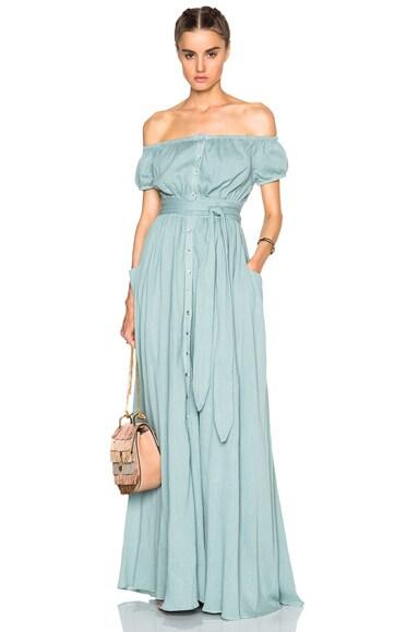 Mara Hoffman Off The Shoulder Dress in Sage