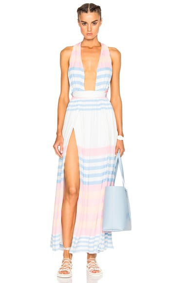 Mara Hoffman Crinkle Crepe Maxi Dress in White Multi
