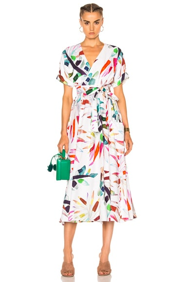 Mara Hoffman Midi Wrap Dress in Xylophone White