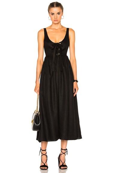 Mara Hoffman Lace Up Midi Dress in Black