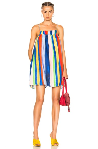 Mara Hoffman Gathered Mini Dress in Rainbow Watercolor Stripe