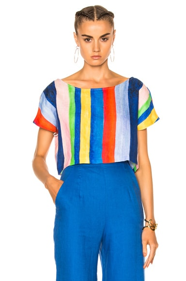 Mara Hoffman Easy Top in Rainbow Watercolor Stripe