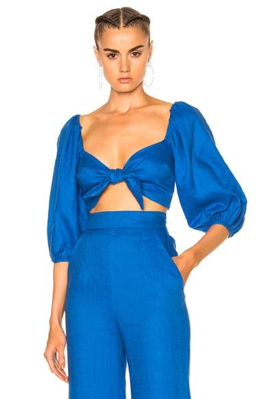 Mara Hoffman Blouson Tie Front Top in Cobalt
