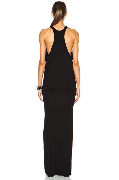 High Neck Maxi Viscose-Blend Dress with Side Slit