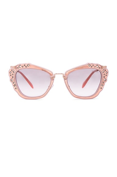 Miu Miu Embellished Cat Eye Sunglasses in Matte Pink