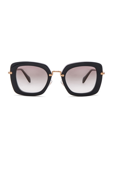 Miu Miu Oversized Square Sunglasses in Black Opal Grey