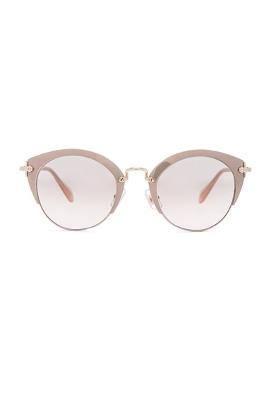 Miu Miu Round Cat Eye Sunglasses in Mirror Pink & Pale Gold