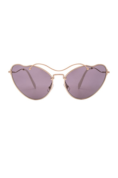 Miu Miu Cat Eye Sunglasses in Antique Gold & Purple Brown