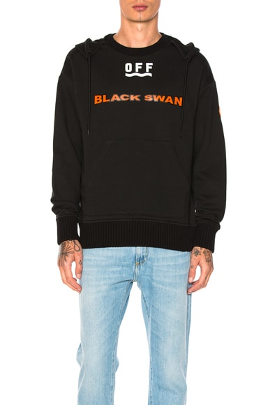 Moncler x Off White Black Swan Hoodie in Black