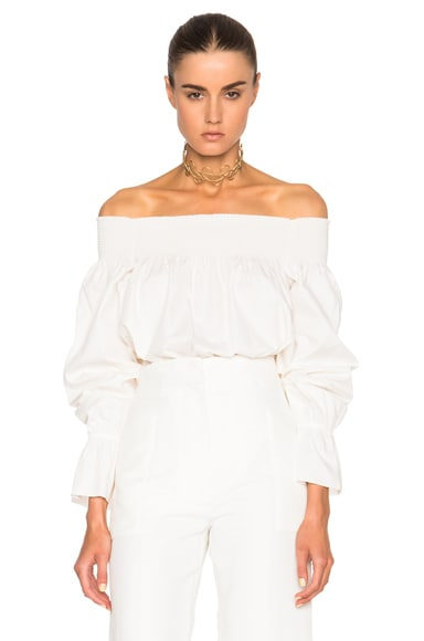 MM6 Maison Margiela Off The Shoulder Top in Off White