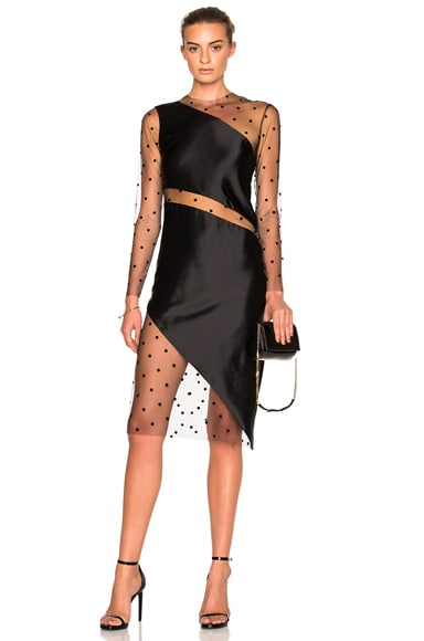 Michelle Mason Mesh Slant Dress in Black