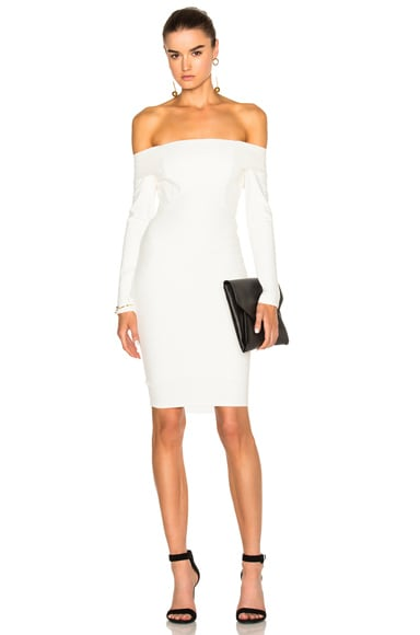 Michelle Mason Off Shoulder Dress in Ivory