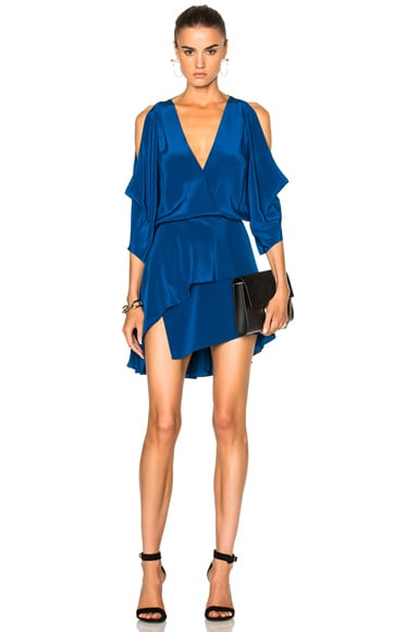 Michelle Mason Open Shoulder Mini Dress in Peacock