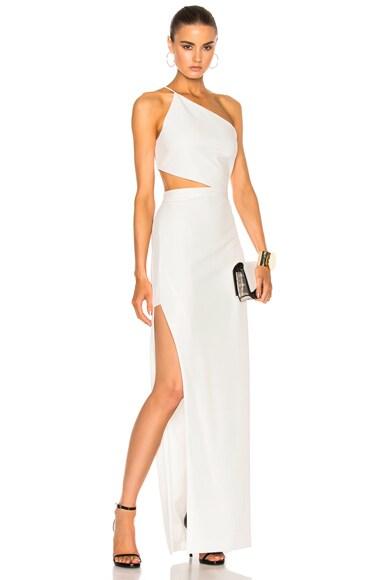 Michelle Mason Asymmetrical Bandeau Gown in Ivory