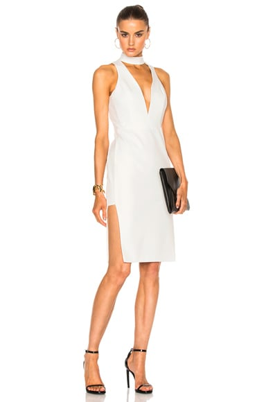Michelle Mason Choker Plunge Dress in Ivory