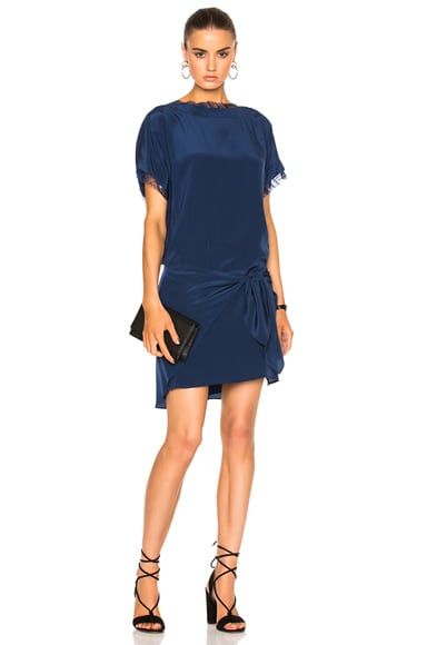 Michelle Mason Oversized Dress with Tie in Prussian Blue