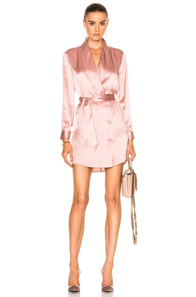 Michelle Mason Belted Dress Jacket in Dark Blush