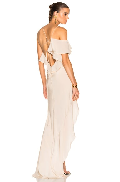Michelle Mason Asymmetrical Ruffle Gown in Bisque