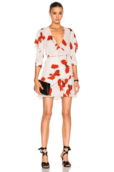 Michelle Mason Flutter Sleeve Wrap Mini Dress in Poppy Print