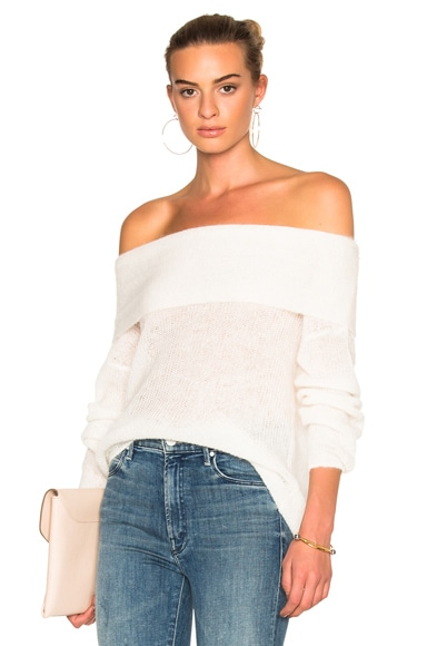 Michelle Mason Off Shoulder Sweater in Ivory