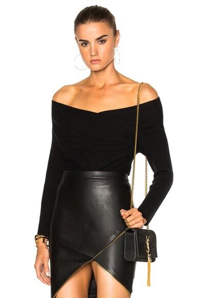 Michelle Mason Cross Wrap Sweater in Black