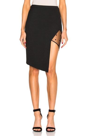 Michelle Mason Asymmetric Mesh Panel Skirt in Black