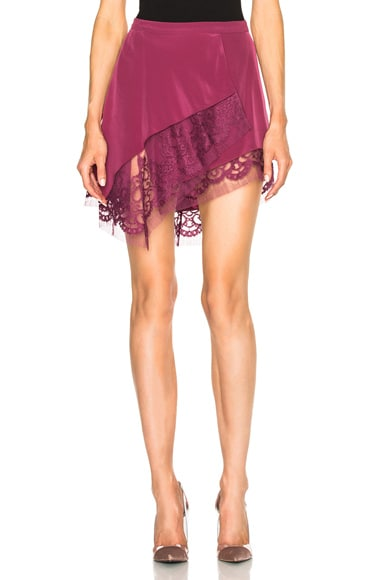 Michelle Mason Lace Hem Skirt in Puce