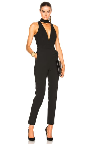 Michelle Mason Choker Plunge Jumpsuit in Black